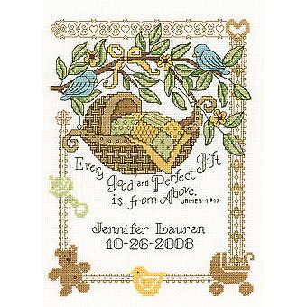 Perfect Gift Birth Record Counted Cross Stitch Kit-7.5