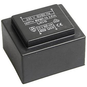 PCB mount transformer 1 x 230 V 2 x 18 V AC 3.60 VA 100 mA