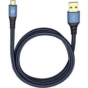 Câble USB 2.0 [1 x connecteur USB 2.0 A - 1 x connecteur USB 2.0 Micro B] 5 m bleu connecteurs en plaqué or Oehlbach USB Plus Micro