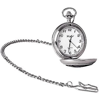 Woodford Celtic Knot Chrome Plated Full Hunter Quartz Pocket Watch - Silver/Black