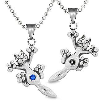 Amuletter søde Kitty kat kærlighed par eller bedste venner sæt blå sort funklende krystaller halskæder