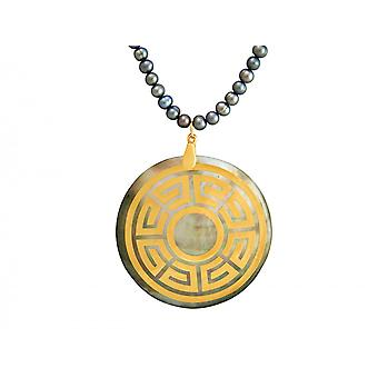 Gemshine - ladies - necklace - pendant - Locket - pearls - mother of Pearl - gold plated - bronze - grey - Tahiti - 3 cm