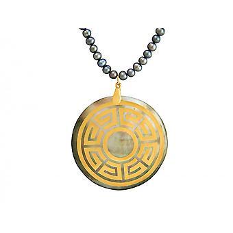 Gemshine - damer - halsband - hänge - medaljong - pärlor - pärlemor - guldpläterad - brons - grå - Tahiti - 3 cm