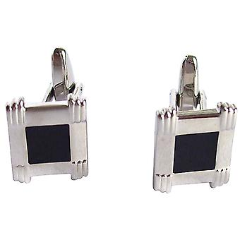 Men's cuff links stainless steel wedding cufflinks fire enamel silver black