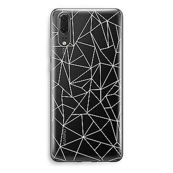 Huawei P20 Transparent Case - Geometric lines white
