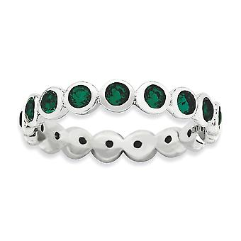 3.5mm Sterling Silver Bezel Polished Rhodium-plated Stackable Expressions May Crystal Ring - Ring Size: 5 to 10