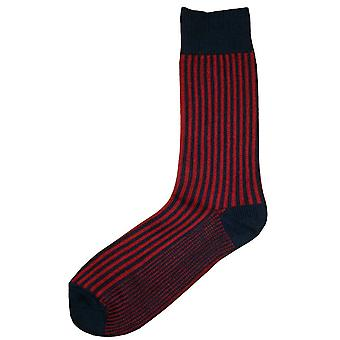 Bassin et Brown bande verticale Midcalf chaussettes - marine/rouge