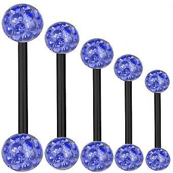 Piercing barra titanio negro 1, 6 mm, cristal Multi de la bola azul zafiro | 6 - 40 mm
