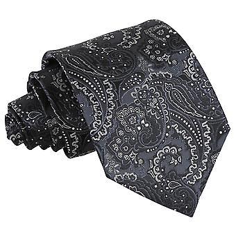 Zwarte & zilver klassieke Koninklijke Paisley Tie