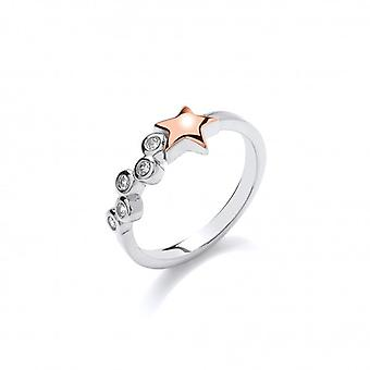Cavendish French Silver and Rose Gold Shooting Star Ring