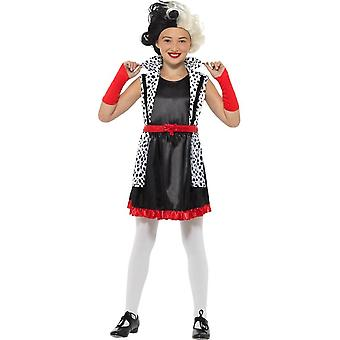 Cruella Deville Evil Little Madame Costume, Girls Fancy Dress,Medium Age 7-9