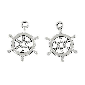 Pakke 30 x Antikk sølv tibetanske 19mm kapteinens hjulet sjarm/anheng HA09025