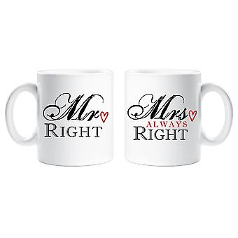 Mr Right Mrs Always Right Couple Mug Set