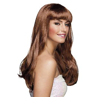 Womens Wig Chique Brown Fancy Dress Accessory