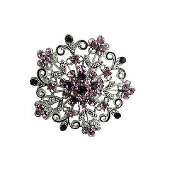 Runde brosje glitrende ametyst lys Dark Crystals Swirly smykker