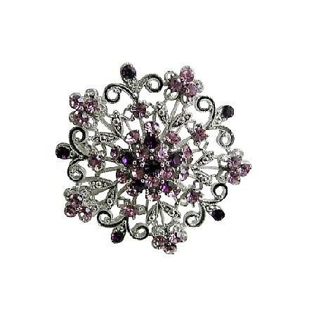 Round Brooch Sparkling Amethyst Light Dark Crystals Swirly Jewelry