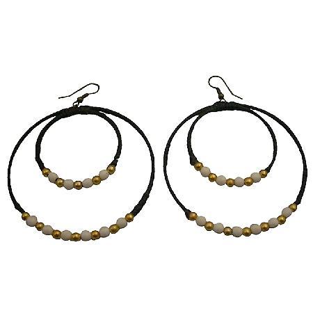 Double Hoop Wax Cord Double Hoop White Turquoise Golden Beads Earrings