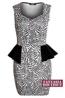 Ladies Black Nude Pattern Short Peplum Bodycon Women's Skirt Dress