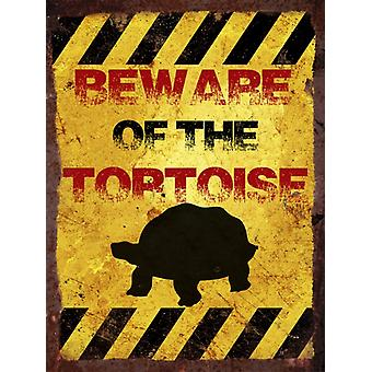 Vintage Metal Wall Sign - Beware of the tortoise