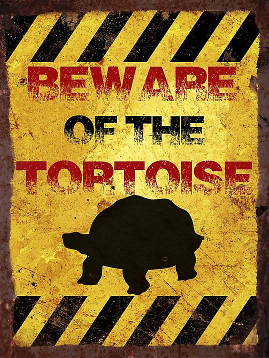 Vintage Metal Wall Sign - Beware of the tortoise