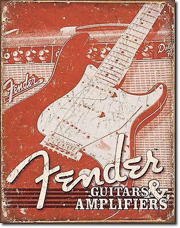 Fender Guitars and Amps. wetahered (pt) metal wall sign (de)