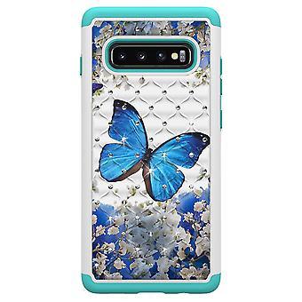 S10 de Samsung Galaxy + TPU Shell armadura Extra Durable azul mariposa