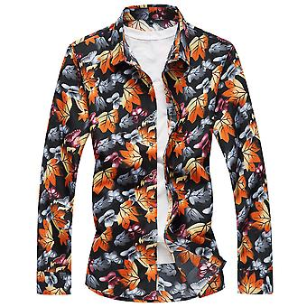 Allthemen Men's Cotton Colorful Leaf Long Sleeves Casual Shirts