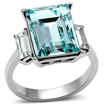 3 Stone Ever Lasting Ring  Aqua Marine Emerald Cut Lab Created Diamonds & Clear Stones