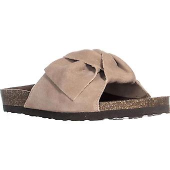White Mountain Womens Henley Leather Open Toe Casual Slide Sandals
