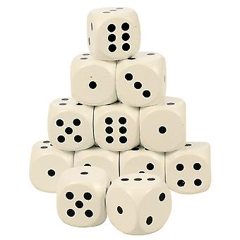 Bigjigs Toys Large Wooden Dice (White - Pack of 12) Educational Games Numbers
