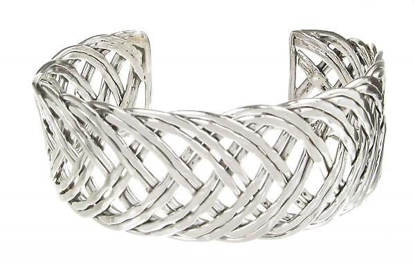Cavendish French Sterling Silver Wide Interwoven Cuff Bangle