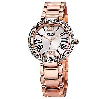 Burgi Women's Crystal Rose-tone Stainless Steel Bracelet Watch BUR101RG