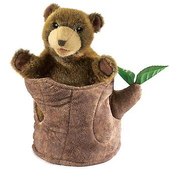 Hand Puppet - Folkmanis - Bear In Tree Stump New Soft Doll Plush Toys 2904