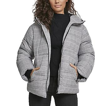 Urban Classics Ladies - Glencheck Puffer Hooded Winterjacke