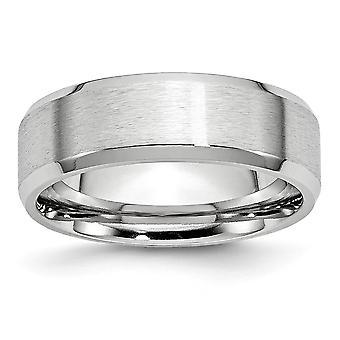 Kobalt Chrom Schlossdrücker abgeschrägte Kante poliert und satin Satin polnische 7mm Bandring - Ring-Größe: 7 bis 13