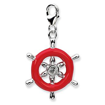 925 Sterling Silver Rhodium-plaqué Fancy Lobster Closure 3-d Enameled Ships Wheelw Lobster Clasp Charm - Measures 33x21m