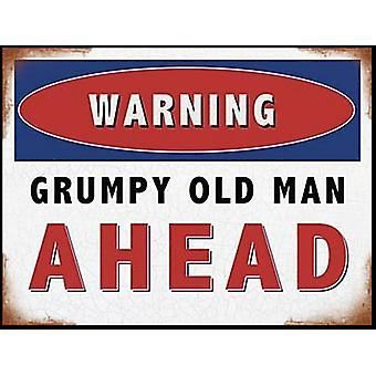 Warning Grumpy Old Man Ahead Large Flat Metal Sign (og 4030)