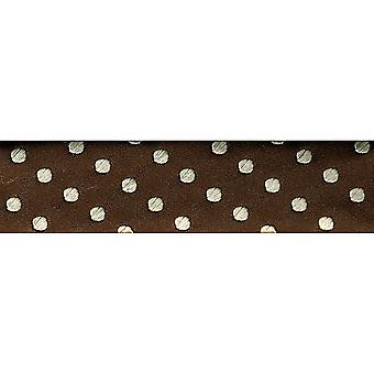 Novelty Fashion Bias 20Mm X 22 Yards Brown with Cream Dots 1782 56