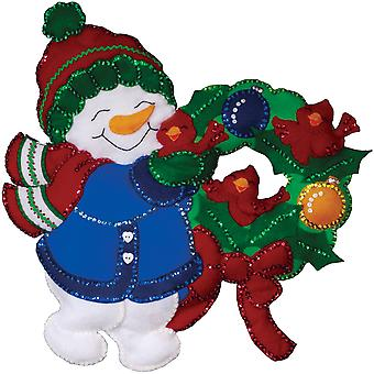 Snowman & Cardinals Wall Hanging Felt Applique Kit 16