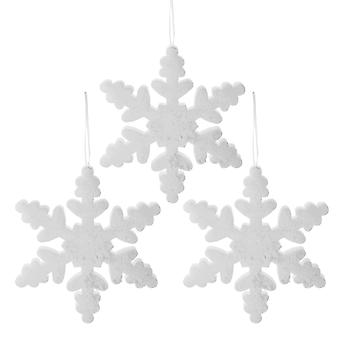 Set of Three 30cm White Glitter Foam Christmas Snowflake Decorations