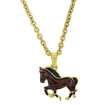 Fine Enamels Brown Galloping Horse Pendant Necklace