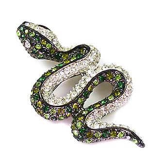 Kenneth Jay Lane Peridot & Crystal Snake Brooch Pin