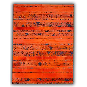 Rugs -Patchwork Leather Striped Cowhide - Orange & Orange Acid Blue