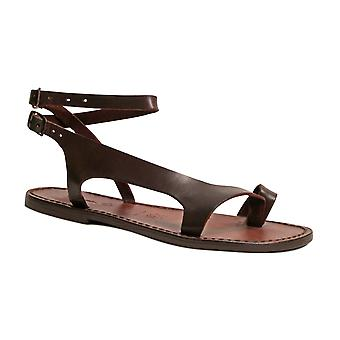 Brown leather thong sandals for women Handmade in Italy