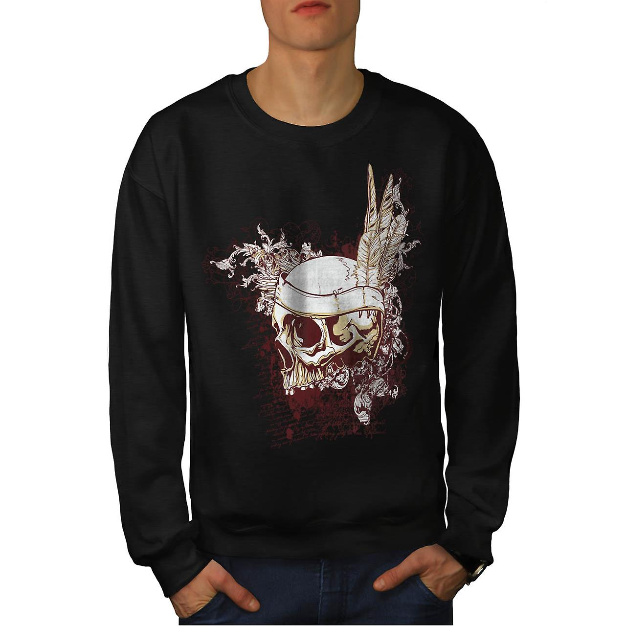 Indian Feather Cool Skull Men Black Sweatshirt | Wellcoda