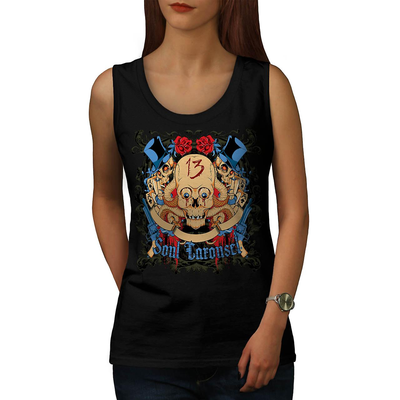 Soul Carousel Skull Terror Ride Women Black Tank Top | Wellcoda