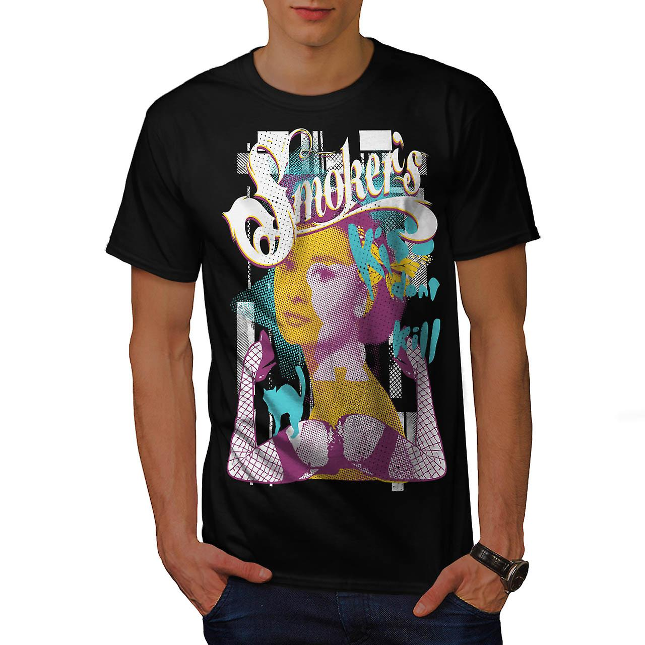 Smoker Kiss Dont Kill Audrey Leg Men Black T-shirt | Wellcoda