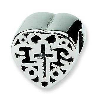 Sterlingsilber antik-Finish Reflexionen Kinder Herz mit Kreuz und Scroll Bead Charm