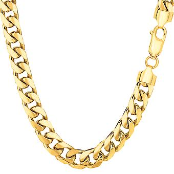 14k Yellow Gold Miami Cuban Link Chain Necklace - Width 6.9mm