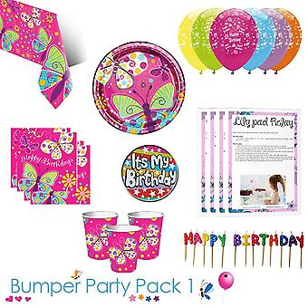 Butterfly Sparkle Party Tableware Bumper Pack - 8 Guests